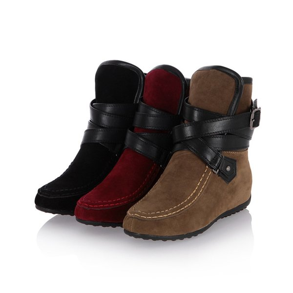 MUQGEW FlockWomen Fashion Belt Increase Wedges Ankle Short Boots Round Toe Casual Shoes Buckle Strap Shoes #1127