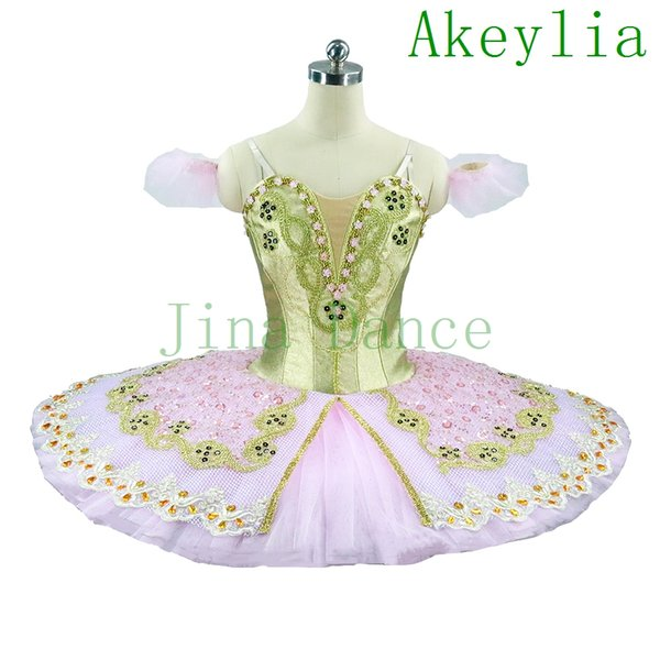 Adult Girls Romanda Classical Ballet Tutu Ballerina Dress Classical Performance Platter Tutu Costume Pink Gold Professional Tutus For Ballet
