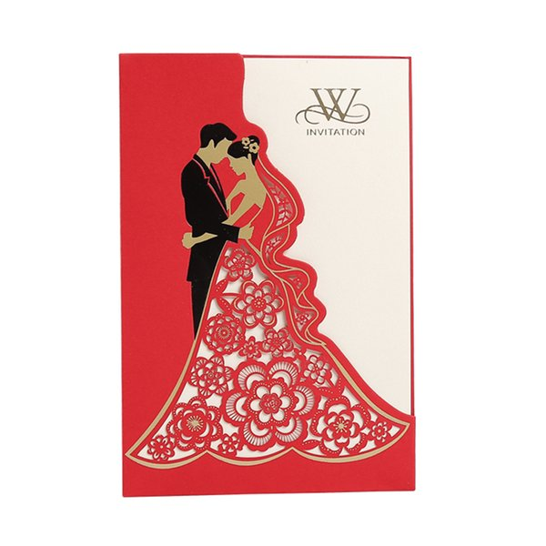 top popular Laser Cutting Wedding Invitations Cards New Party Cards Hollow Out Wedding Invites Cards Bride And Bridegroom Wedding Favors Hot Selling 2021