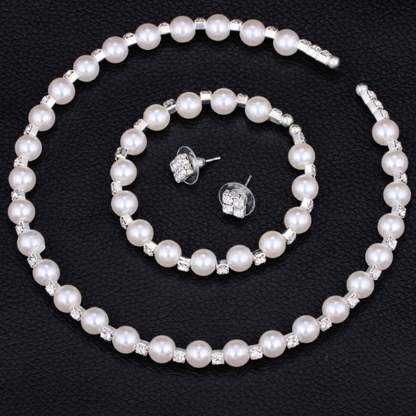 New Fashion Bridal Jewelry Sets Simulated 8mm Pearl Crystal Wedding Earrings Necklace Party Beads Bracelet Wedding Accessories Gift