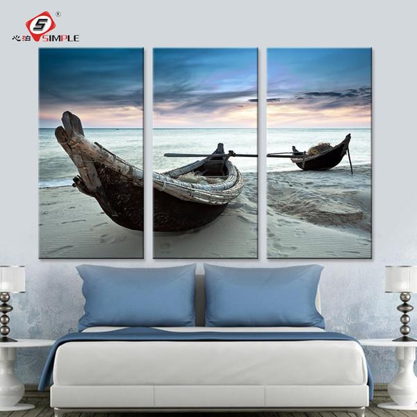 представьте для гостиной дропшиппинг картины маслом стены искусства отпечатки на холсте пейзаж пляж лодка современный настенные панно для гостиной Дома де...