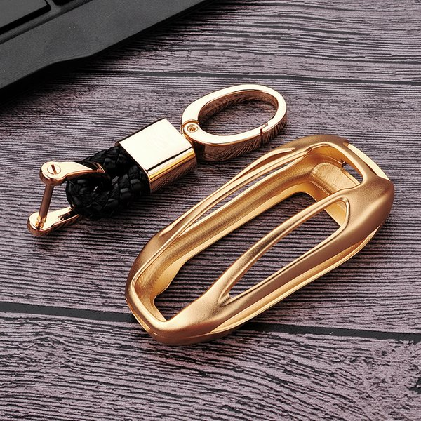 Per macchina in lega di Tesla Model X Alluminio Caso chiave chiave copertura Shell Bag Protector oro
