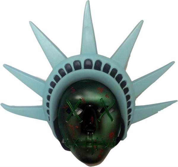 EL Draht Maske LED-Licht Purge Maske Freiheitsstatue Kronen Visier Kappen Hut Kopf Kopfbedeckung Halloween-Latex-Kostüm Cosplay Larp