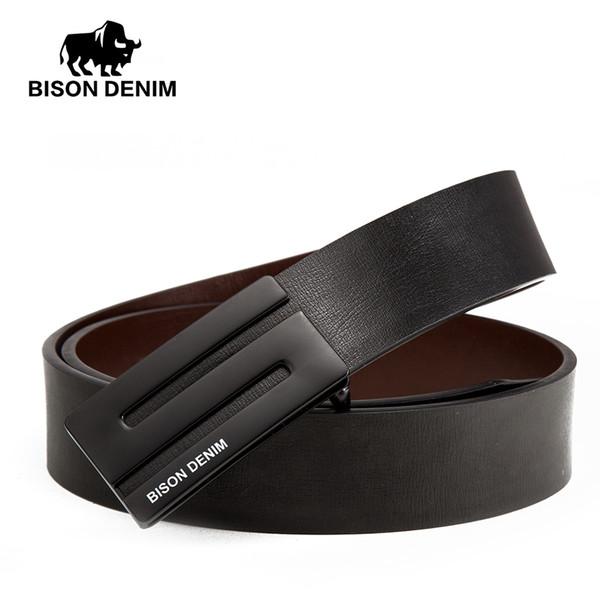 BISON DENIM Luxury Leather Belt Uomo Cinture da uomo in vera pelle 3.4 cm Larghezza Cowskin Cinture Cinturino Marchi Regali N71370