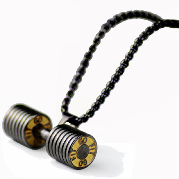 New Fashion Mens Hip Hop Necklace Jewelry Dumbbell Big Pendant Trendy Stainless Steel Snake Chain Long 60cm Punk Men Necklaces For Men