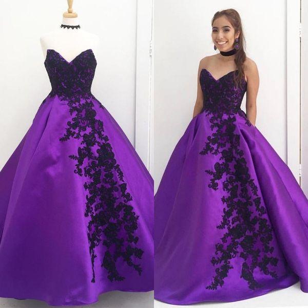 Negro Longitud Compre Formal Por Apliques Piso Baile Del Fiesta Vestidos Largo Sin Mangas De Púrpura Cariño Vestido Satén Encaje Qrtshd
