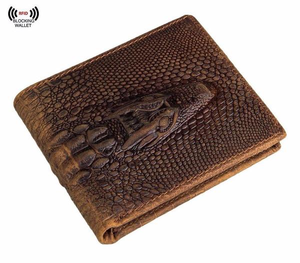 Portefeuille court pour hommes. Portefeuille à deux portes pliantes avec crocodile en cuir véritable italien, blocage italien