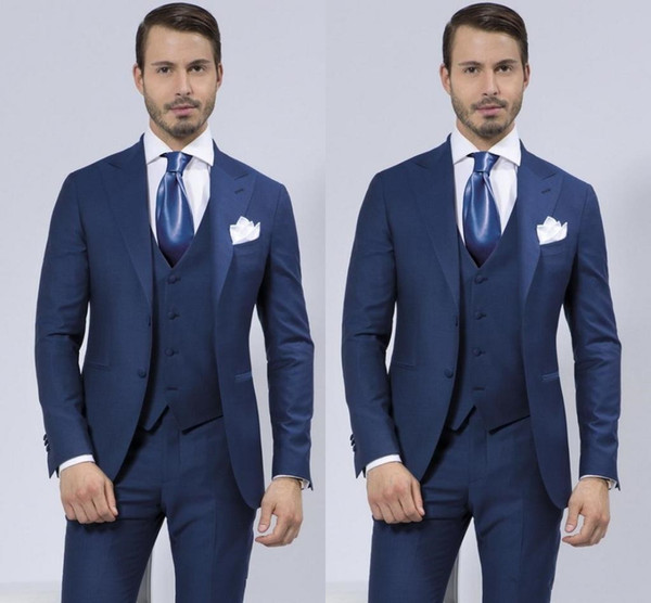 Custom Made Slim Fit Two Buttons Groomsmen Lapel Groom Tuxedos Blue Men Suits Wedding/Prom Best Man Blazer ( Jacket+Pants+Vest)
