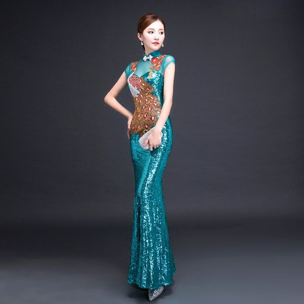 Peacock Embroidery Sequins Chinese Style Long Cheongsam Sexy Slim Party Evening Dress Stage Dance Dressing Qipao Vestidos