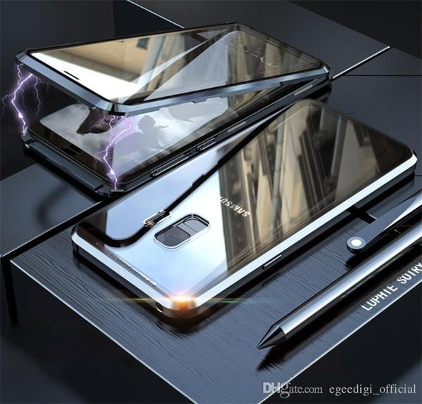 Cover posteriore in metallo magnetico anteriore + posteriore in vetro per iPhone 8 7 6S X Xr Xs Max Plus Custodia per telefono Samsung S8 S9 S10 5G Plus S10E Nota 9 8