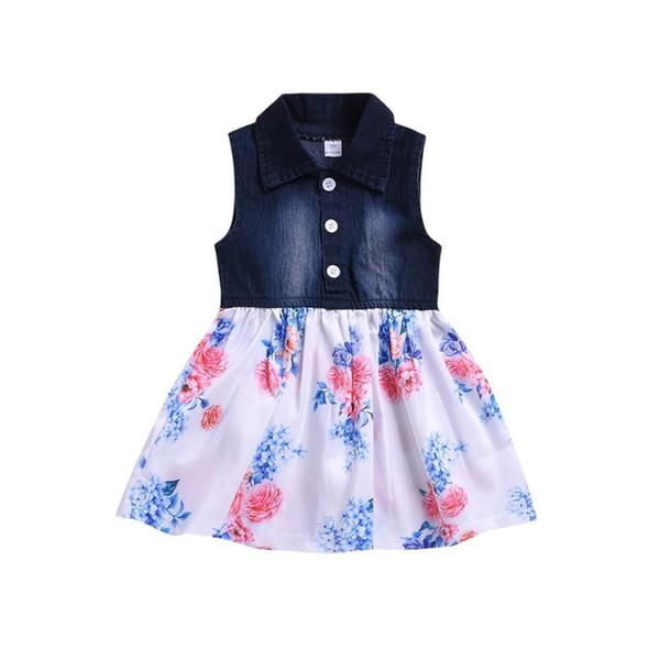 Baby Girls Dress Lovely Hot Kids Jean Denim Flower Ruffled Sundress Dress for Girls Clothing Costume