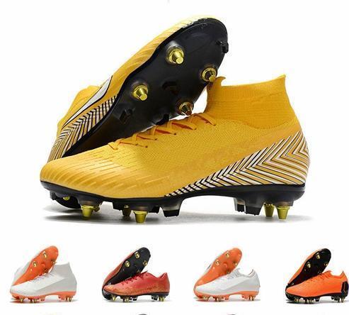 Yeni Ucuz Erkek Futbol Cleats Mercurial Superfly VI 360 Elite SG AC Çelik Spike Futbol Ayakkabıları Yüksek Ayak Bileği Shoes De Futbol Çizmeler
