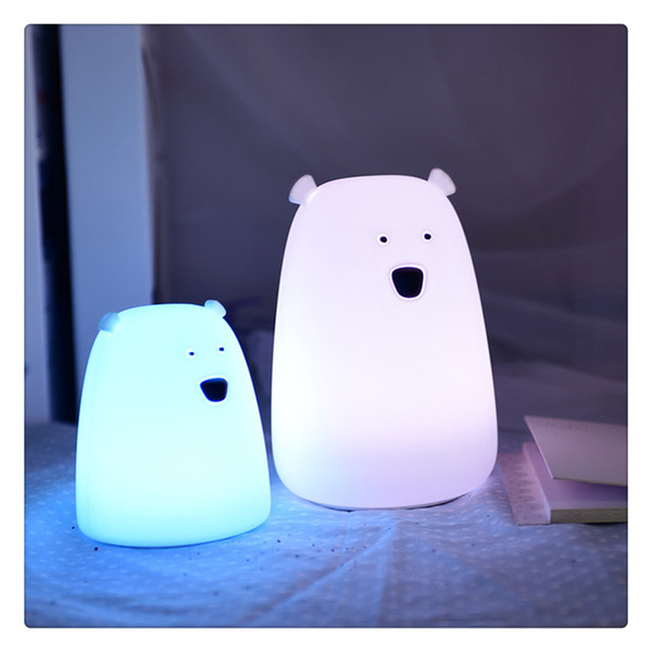 Urso LEVOU Luz Noturna Colorido Berçário Lâmpada de Silicone para Crianças Dos Miúdos Bebês Quarto Sala de estar Criativo