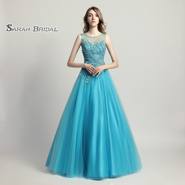 Long Turquoise Ball Gown Beading Tulle Prom Party Dress Elegant Backless Vestidos De Festa Evening Occasion Backless Quinceanera Gown LX425