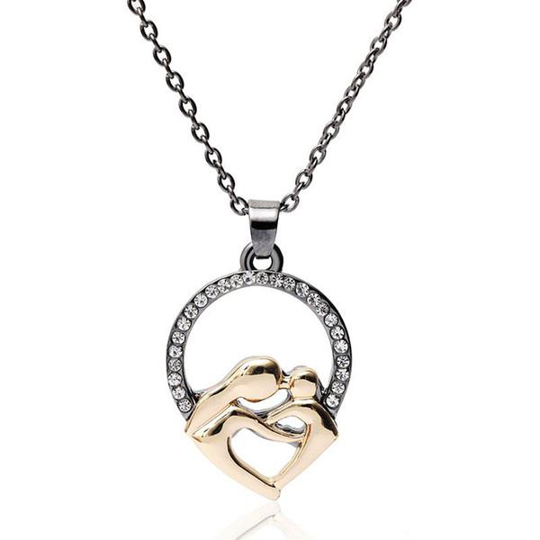 В форме сердца родитель-ребенок ожерелье кулон золотой цвет любовь сплав цинка индивидуальный подарок для женщин девочек подвески ювелирные изделия день матери