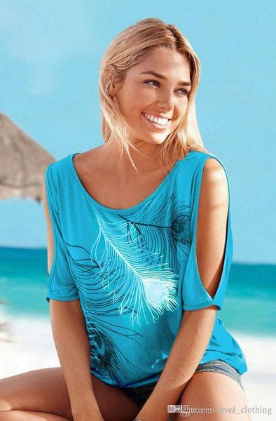 Nouveau loisir de la mode 6 couleur 8 yards plume imprimé chemise à manches courtes épaule T-shirt été blouse 5pcs
