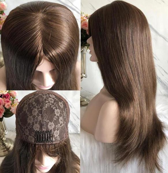 Kosher Peruk 10A Sınıf Açık Kahverengi Renk # 6 En Iyi Avrupa Virgin İnsan Saç Ipeksi Düz 4x4 Ipek Taban Yahudi Peruk Hızlı Ücretsiz Kargo