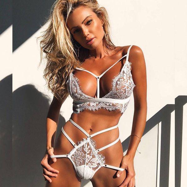 2018 New Sexy Strappy Eyelash lace Bra & Brief Sets Women's Sexy Lingerie Bandage Strappy Lace Bralette Bra Panty Set Big Size