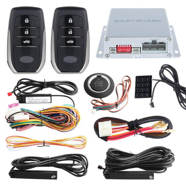 best selling EASYGUARD PKE car alarm system push button start remote engine start stop auto passive keyless entry kit touch password keypad
