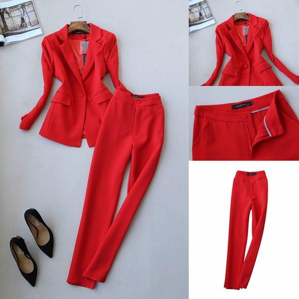 Automne nouveau costume de mode féminine version coréenne de la veste de costume dames neuf points pieds pantalons deux ensembles