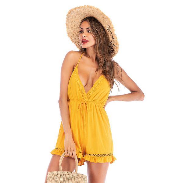 Gelb Helle Farbe Sommer Slip Kleider Frauen Overalls V-Ausschnitt Tops Shorts Rüschen Sexy Halter Backless Strampler