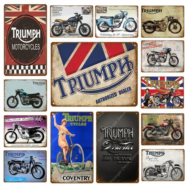 Triumph Motorcycles Servicios Reparaciones de metal signos Ciclos Bicicletas Cuelgue cartel de la pared bar Bar Garaje Decoración Decoración Manualidades