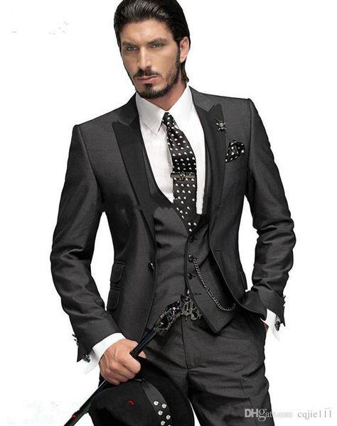 Latest High Quality Charcoal Grey Groom Tuxedos One Button Peak Lapel Groomsmen Men Wedding Suits Bridegroom (Jacket+Pants+Tie+Vest)