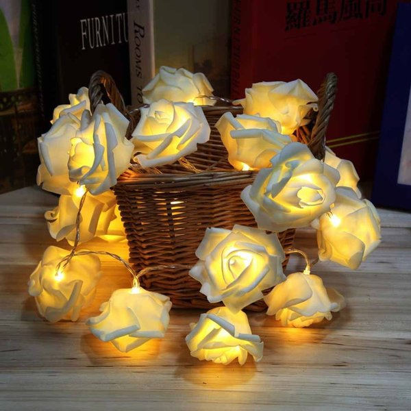 Férias românticas LED Rose Flor fada luces decorativas luzes da corda guirlande lumineuse 20 LED Garden Party Decoration