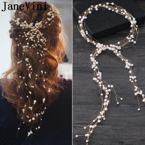 JaneVini Wedding Hair Accessories Simulated Pearl Haedbands for Bride Crown Women Hairband Hair Ornaments haar accessoires bruid 2019