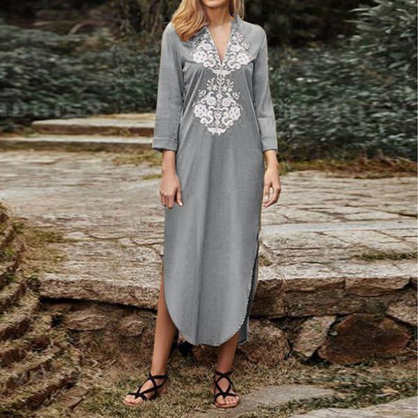 Frauen Herbst Langarm Print Maxi Kleid Casual Spitzenkleider V-ausschnitt Slit Up Party Langes Kleid vestidos de festa Frauen Kleider