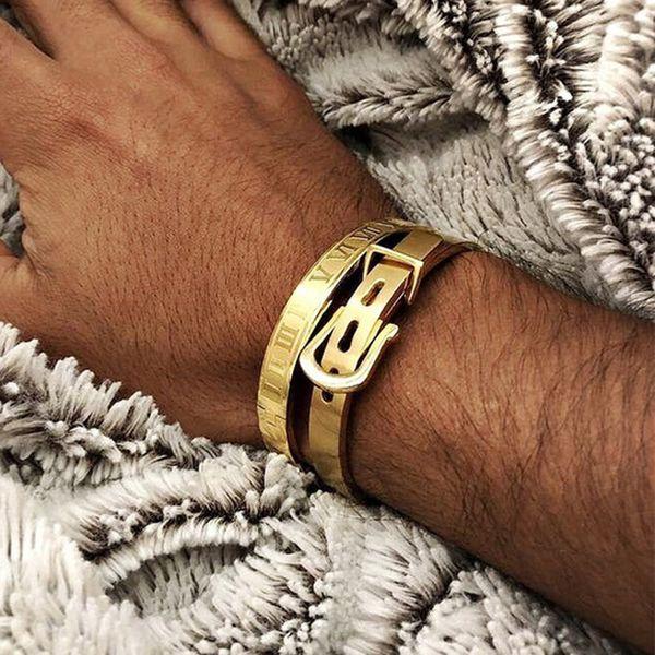 best selling Mens Bracelets 2019 Punk 2pcs set Geometric Stainless Steel Wristband Bracelet For Men Jewelry Gift Set