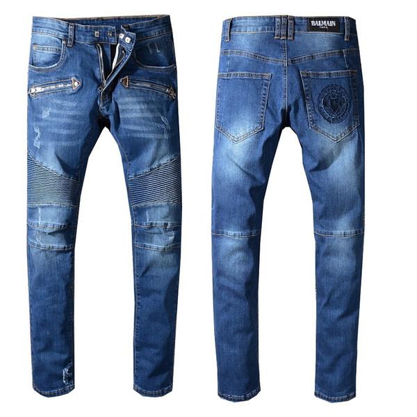 Erkek Sıkıntılı Ripped Biker Jeans Boyutu 29-42 Slim Fit Motosiklet Biker Denim Erkekler Için Marka Tasarımcısı Hip Hop Erkek Kot