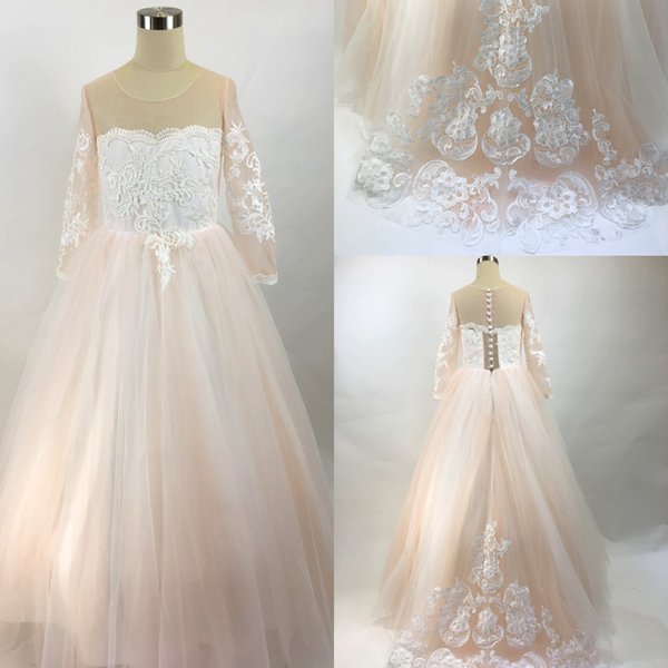 top popular 2019 Real Image Blush Pink Flower Girls Dresses Long Sleeves For Weddings Lace Appliques Ball Gown Birthday Girl Communion Pageant Gowns 2019