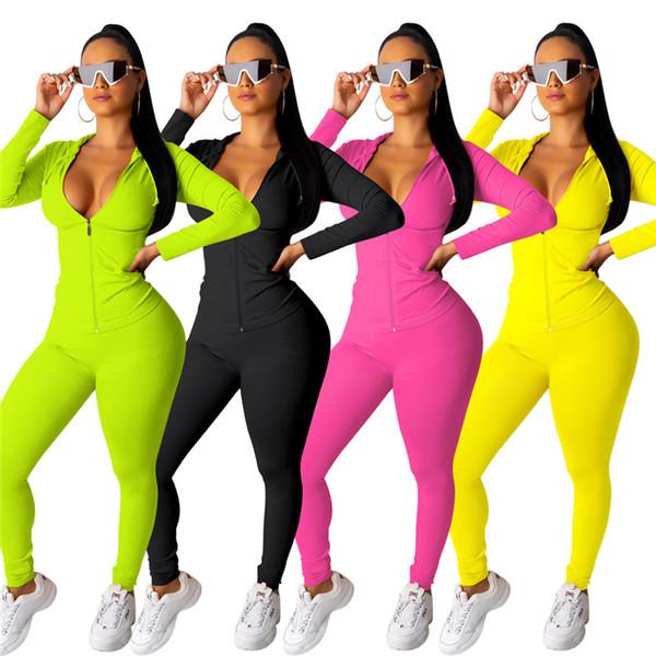 Женщины конфеты цвет спортивный костюм из двух частей комплект с длинным рукавом толстовки леггинсы модные облегающие брюки костюм фитнес-костюмы плюс размер 1041