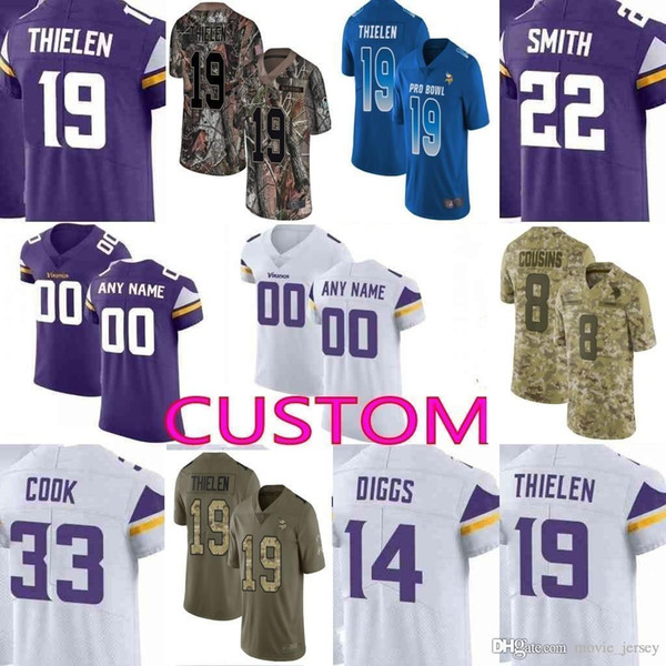 on sale 097c8 3571e 2019 Custom Men Youth Women Minnesota Kirk Cousins Stefon Diggs Adam  Thielen Harrison Smith Vikings Camo Salute To Service Elite Limited Jersey  From ...