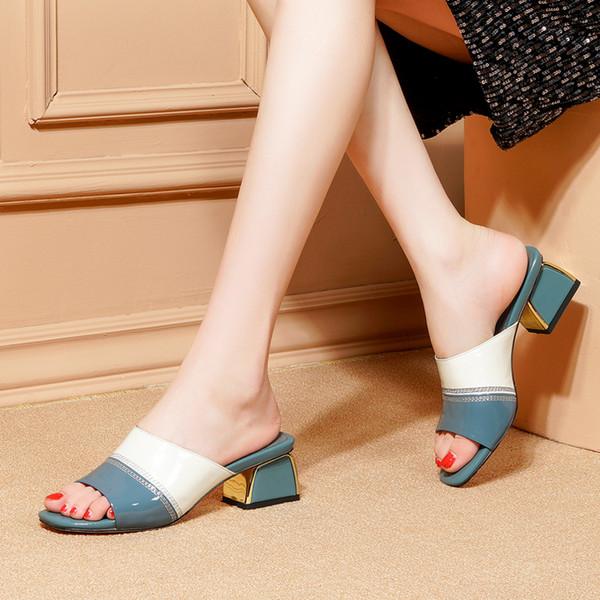 Zapatillas de cuero de vaca para mujer Zapatillas exteriores de cuero genuino de verano Talón cuadrado Tacones altos Suela de goma Chanclas Zapatos casuales
