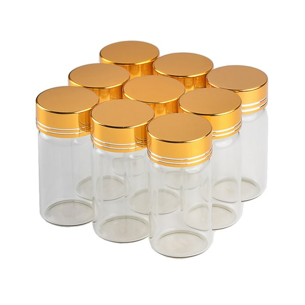 30*60mm 24pcs 25ml Glass Bottles Aluminium Screw Golden Cap Empty Transparent Clear Liquid Gift Container Wishing Bottle Jars