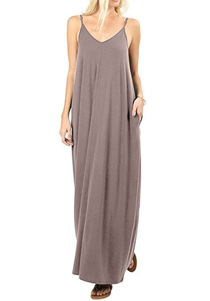 10 Colors Women Long Dress V-Neck Spaghetti Modal Casual Solid Color Pocket Fashion Bohemian Maxi Dress Muslim Summer Dress XXL Whole Sale