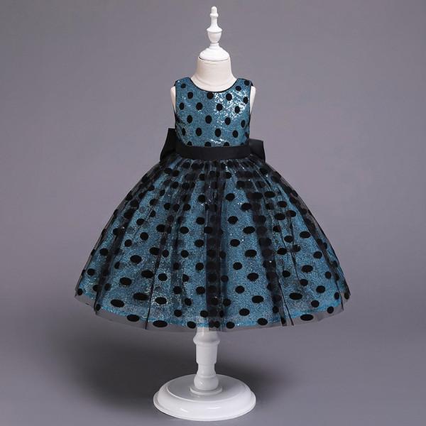 heißer Verkauf Mädchen Bogen Kleid Baby Hochzeit Kleid Mädchen Mode Kleider Prinzessin Tanz Kleidung Mädchen Pailletten Polka Dot Kleider Kinder Abendkleid