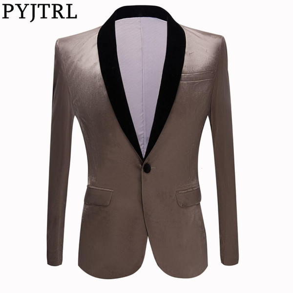 PYJTRL Men Fashion Shiny Blazer Wedding Grooms Prom Dress Suit Jacket