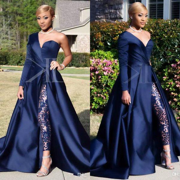 Vestidos de noche azul marino, 2019 Sexy, un hombro, manga, mono, vestidos de baile, tren de corte suave de satén Vestido formal de fiesta