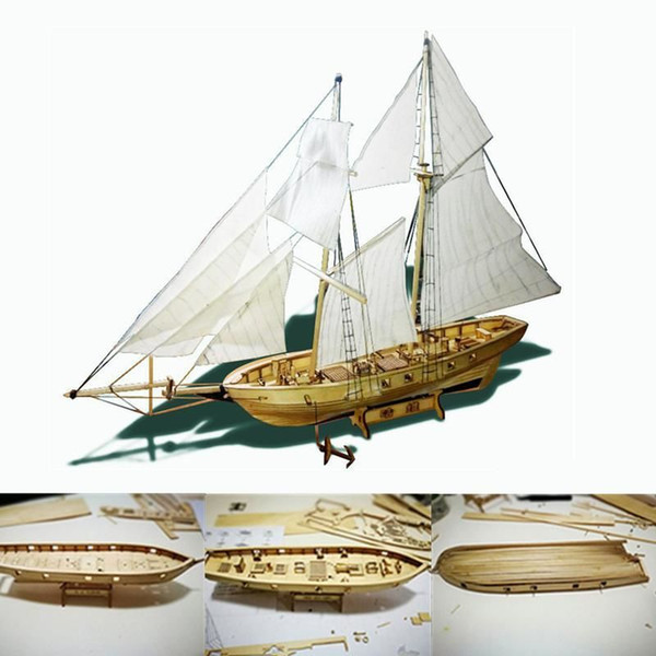 top popular Kuulee 1:100 Scale Wooden Wood Ship Kits DIY Model Home Decoration Boat Gift Toy for Kids Sailboat Mould Y200428 2021