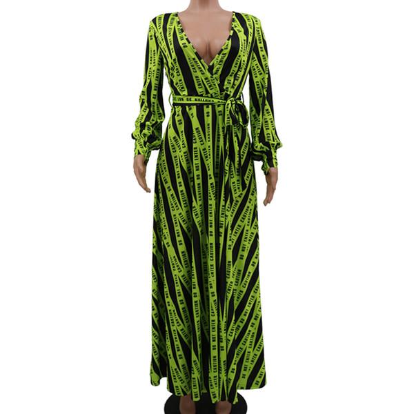 Manches Longues Casual Robes Maxi Femmes Col en V Imprimé Robes Longues Avec Ceintures Nouveau Style En 2019