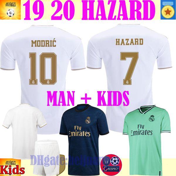 Maglie calcio Real Madrid HAZARD 2019 2020 camiseta de fútbol 2019 2020 VINICIUS ASENSIO maglia da calcio donna kit per bambini camisa de futebol