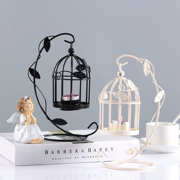 Creative Birdcage Tealight Candle Holder Romantic Iron Bird Cage Hanging Lantern for Party Wedding Home Decoration White Black