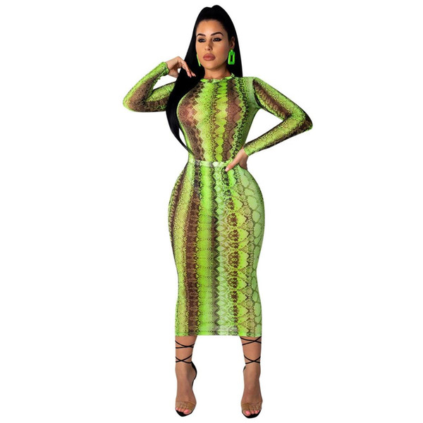 Party Summer Club Dress Casual Women Sexy Sheer Bandage Bodycon Dress Long Sleeve Green Snake Print Transparent Mesh