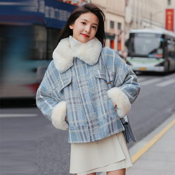 blue/pink plaid tweed jacket women faux lamb wool parka with fur collar winter warm short jacket fashion female coat