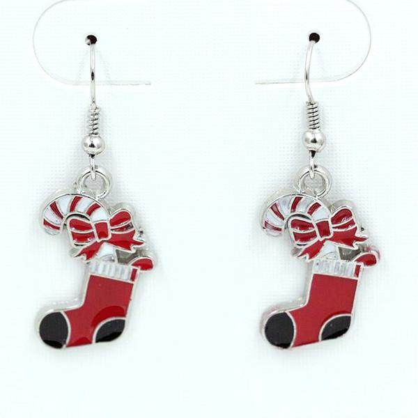 10pair boucle d'oreille, chaussettes de Noël émail rouge boucles d'oreilles argent antique crochet à poisson oreille fil 42 x 16 mm lustre bijoux bricolage