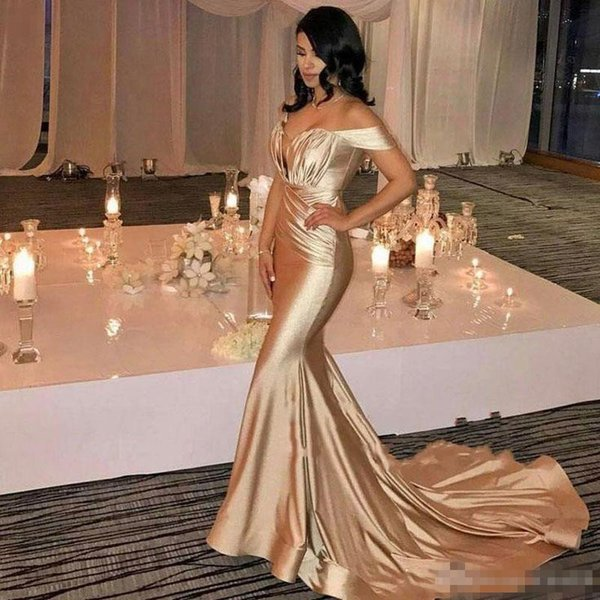 Champagne Mermaid Dresses Cheap Evening Wear 2018 Sexy Off Shoulder Corset Pleats Satin Court Train Dubai Formal Party Prom Gowns