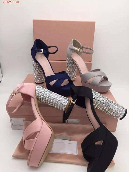 Ultra high night Women in the summer Waterproof Taiwan With diamond Catwalk shows Thick with high heels sandals